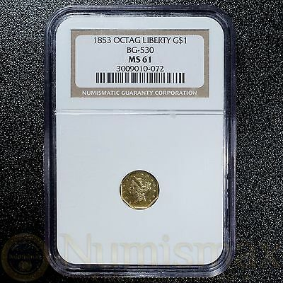 1853 Octagonal Liberty California Gold $1 BG-530 | NGC MS61