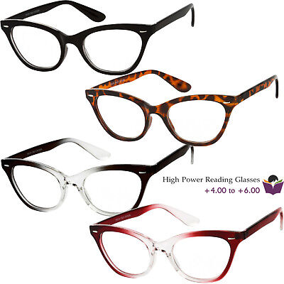 a0688ba81f98 Womens High Power Strong Magnification Reading Glasses Cat Eye 4.00 5.00  6.00