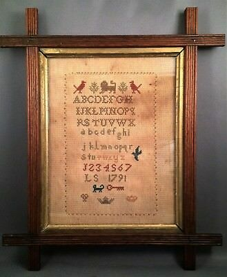 Fabulous Early 1791 Antique Framed Cross Stitch Needle Work Sampler Initials LS