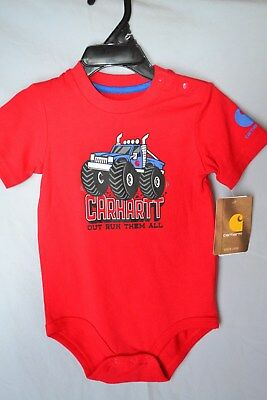 "Carhartt Boys Red 1pc Shirt ""Out Run Them All""  CA8675 Babies/Infants NWT"