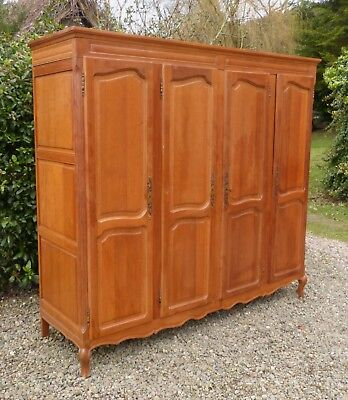 Large Vintage French Solid Oak 4-Door Rococo Armoire / Wardrobe, One of a Pair