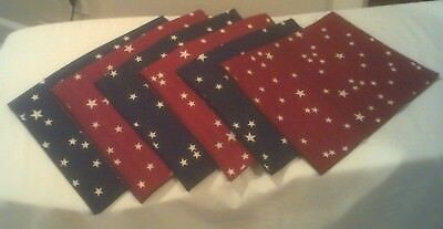 Longaberger Set of 6 Placemats in Stars & Stripes Blue Stars and Red Stars