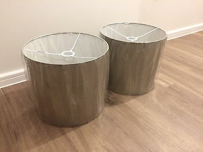 "Brand New Pair Of 14"" Silk Drum Shades In Taupe - Collection In Person"