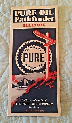 c1930's  Pure Oil Pathfinder Map for  ILLINOIS VG