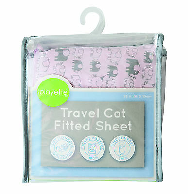 Printed Travel Cot Fitted Sheet - Pink Elephant 1353507..