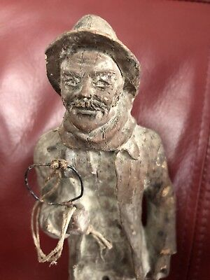 "Vintage Hand Carved 9"" Wooden Figurine Man Folk Art"