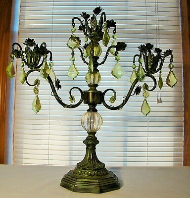 """Candelabra, 3-Arm,18 FrenchPrisms,18 Roses, Vines,18"""" High,metal,french Country"""