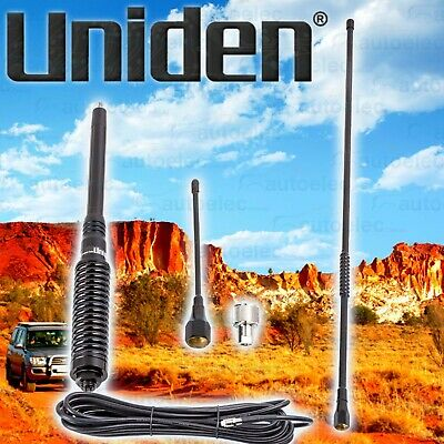 Uniden At886Bk Twin Black Antenna Pack Kit Uhf Cb Radio Bull Bar H/Duty Suit Gme