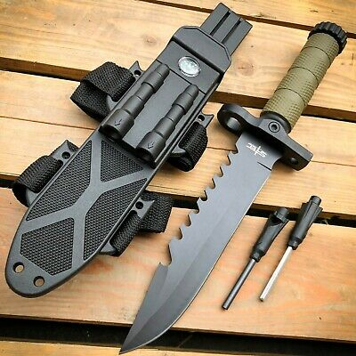 "13"" TACTICAL SURVIVAL Rambo Hunting FIXED BLADE KNIFE Army Bowie w/ SHEATH New"