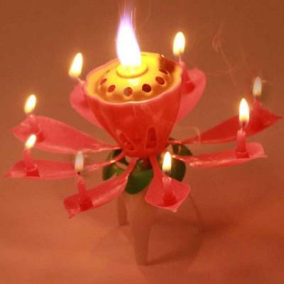 1pc Lotus Flower Candle Musical Blossom Candles Happy Birthday Party GiftUS
