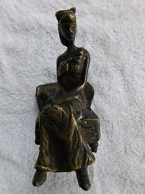 VINTAGE BRASS or BRONZE WOMAN SITTING ON CHAIR FIGURINE