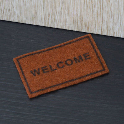 1:12 Welcome Brown Rug Miniature Dollhouse Home Decor Accessory