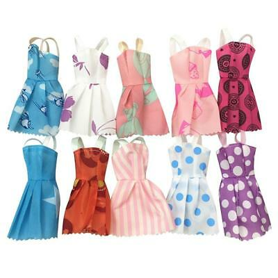 "10 Pcs Fashion Handmade Dresses Clothes For 11"" Dolls Style Random"