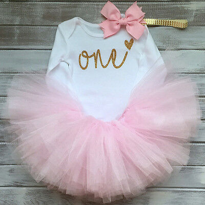 BABYGIRLS MY1st First Birthday PRINCESS TUTU GOLD ONE ROMPER +HAIRBOW PHOTOSHOOT