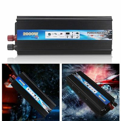2000W DC 12V AC 110V Car Converter Power Inverter Electronic Dual USB Charger