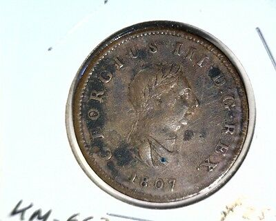 1807 Great Britain 1/2 Penny Coin KM#662 Geo III XF details environmental damage