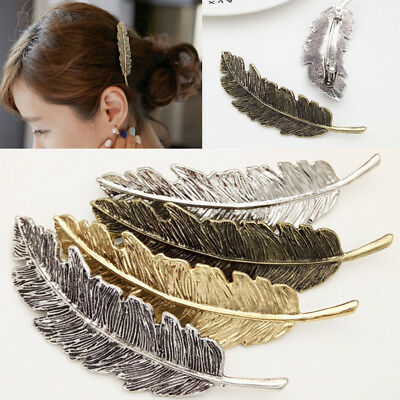 Vintage Women Leaf Feather Hair Clip Hairpin Barrette Bobby Pin Hair Accessories