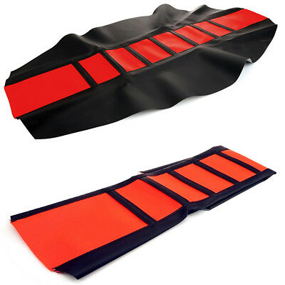Red Leather Gripper Soft Motorcycle Seat Cover Rib Skin Rubber Dirt Bike Enduro