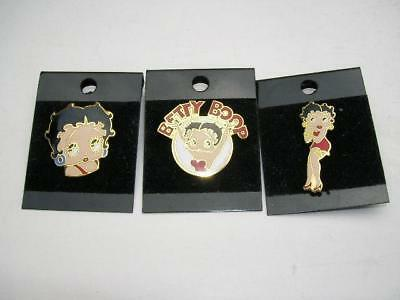 Lot of 3 Betty Boop Enamel Lapel Souvenir Hat Pin Unused still on the cards