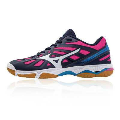 Mizuno Womens Wave Hurricane 3 Indoor Court Shoes Pink Purple Sports  Trainers e830ea54d7