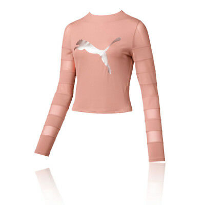 Puma Womens Strapped Up LS Training Gym Fitness Top Pink Sports Breathable