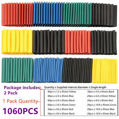 580Pcs Assortment Heat Shrink Sleeve Electrical Cable Tube Tubing Wrap Wire Kits