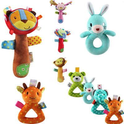 Newborn Baby Soft Sound Animal Handbells Plush Squeeze Rattle Lovely Toy Cute