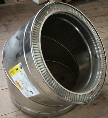 Poujoulat Thermonix 250mm Stainless Steel 45 Elbow with Locking Band