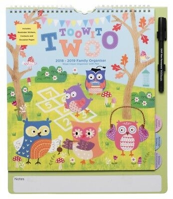 WHSmith Toowit Twoo Owl Mid Year Large Family Organiser 2018-19 Month to View