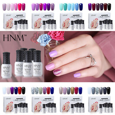 Nail Gel Polish Soak Off Manicure UV LED Gift Box Starter Kits 6 Colors Set HNM