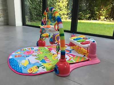SURREAL Baby Gym Play Mat Lay & Play Fitness Music And Lights Fun Pink Large