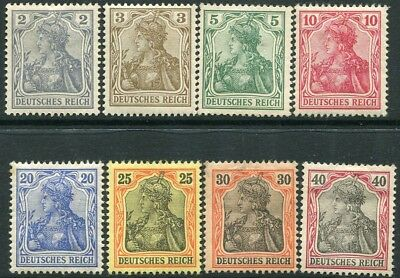 GERMANY-1902 No Watermark 2pf to 40 pf Sg 67-74 MOUNTED MINT V22300