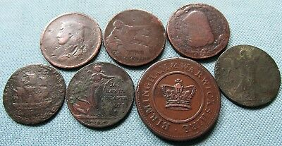 Lot 7 British 1700s Conder Tokens & 1800s Penny Halfpenny Tokens Old Coppers #1