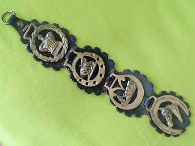 """Vintage Antique Leather Harness Hanger 4 Solid BRASS Medallions~16"""" LONG~NO RES!"""