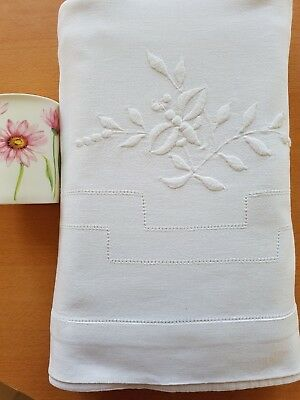 """Antique French PURE LINEN hand embroidered sheet 81"""" X 114"""" Bee & Flowers"""