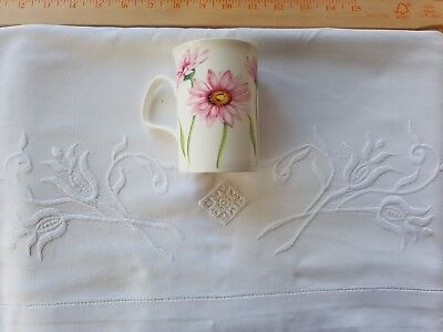 """French LINEN hand embroidered sheet 72"""" X 98"""""""