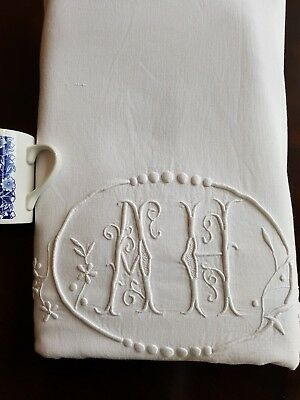 Antique French PURE LINEN sheet hand embroidered monogrammed HUGE Monogram AH XL