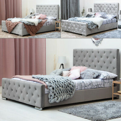 Grey / Silver Crushed Velvet Fabric Upholstered Bed Frame Double King Size