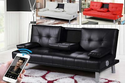 Modern Small 2 /3 Seater Sofa Bed Bluetooth Speaker Black Red White Faux Leather