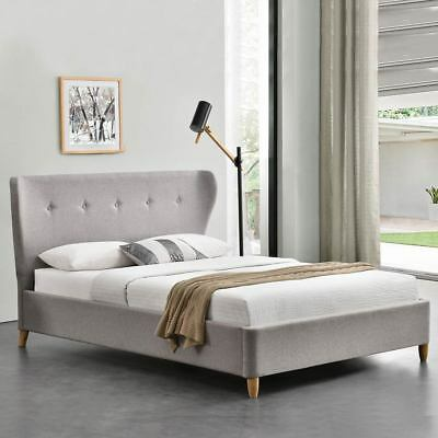 Modern Grey Fabric Upholstered Winged Headboard Bed Frame Double / King Size