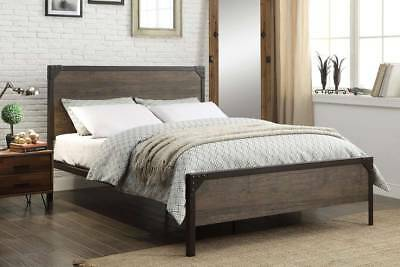Modern Vintage Industrial Style Rustic Wood & Metal Bed Frame Double King Size