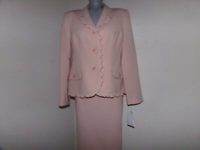 Kim Rogers Signature Sz 14 Petite Tea Rose Wedding  Cocktail Skirt Suit NWT $200