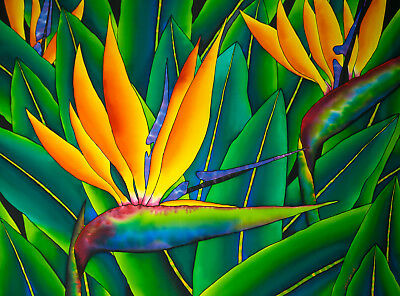 Jean-Baptiste Original Batik Silk Painting Of A Bird Of Paradise Flower
