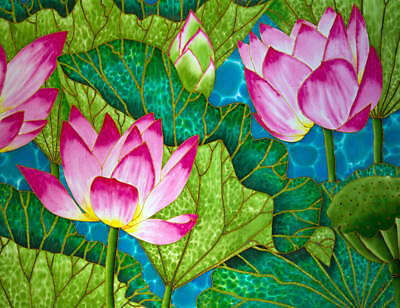 Jean-Baptiste Original Batik Silk Painting Of A Lotus Flower