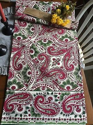 April Cornell New Table Runner Red Green Paisley Christmas 17