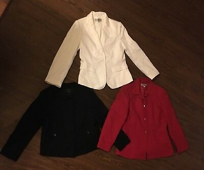 Lot 3 Tahari Ann Taylor Jackets Blazers Red White Black 10 10p Practically New!