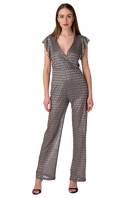 New Womens Jumpsuit GUESS Deep Wrap Neck Made in Italy Size XS W64D60W8NG0