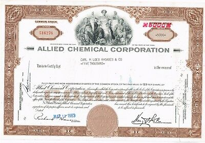 Allied Chemical  5000 Shares Extra Rare! 1963 Extra Clean