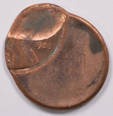 1c 1988 Lincoln Cent 60% Off-Center & 50% Indent UNC Brown