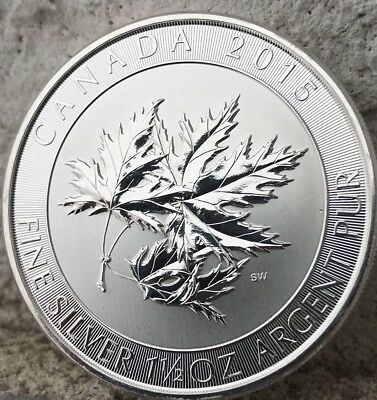 """(2015) ~Canadian """"Super Leaf"""" 1.5 Ounce Purest .9999% Silver~ (Invest Now)!"""